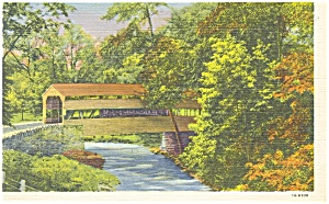 Valley Forge,PA, Covered Bridge ,Linen Postcard (Image1)