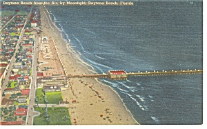 Daytona Beach Fl From The Air Linen Postcard P7905