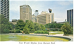Fort Worth, TX, Skyline from Burnett Park Postcard (Image1)
