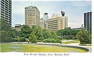 Fort Worth TX Skyline from Burnett Park Postcard p7968 (Image1)