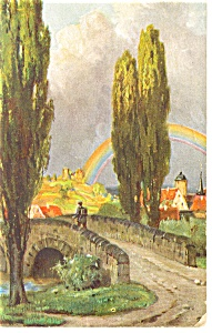 Vintage Postcard Of A Bridge And Rainbow