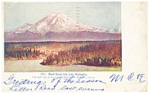 Mt Rainier WA from Lake Washington Postcard 1906 (Image1)