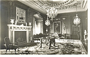 Warwick Castle,Cedar Drawing Room Real Photo Postcard (Image1)