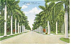 Ft Myers FL View of First Street Postcard p8144 (Image1)