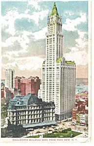 New York NY Woolworth Building Postcard p8150 1919 (Image1)