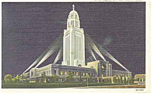 Lincoln NE State Capitol at Night Linen Postcard p8159 1946 (Image1)