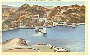 Boulder Dam AZ At Capacity Postcard p8170 (Image1)