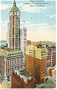 New York City NY Singer Building Postcard p8203 1912 (Image1)