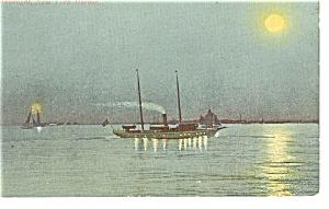Moonlight in New York Harbor Postcard p8341 1910 (Image1)