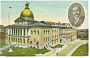 Boston MA State Capitol Governor Foss  Postcard p8373 1911 (Image1)