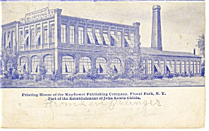 Floral Park NY Mayflower Printing Plant Postcard p8390 1907 (Image1)