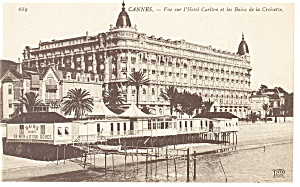 Cannes, France, Hotel Carlton Postcard (Image1)