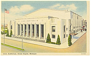 Civic Auditorium, Grand Rapids, MI Linen Postcard (Image1)