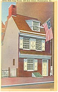 Philadelphia PA Betsy Ross Flag House Postcard p8462 (Image1)
