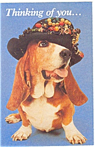 Cute Dog with Hat Postcard Thinking of You Postcard p8478 (Image1)