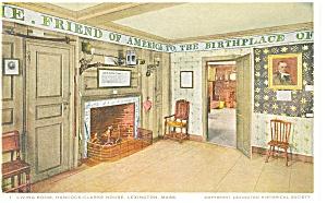 Hancock Clarke House Parlor Lexington MA p8523 Detroit Postcard (Image1)