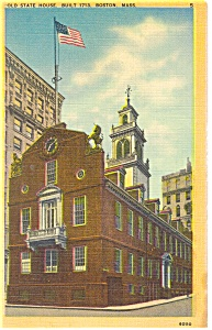 Old State House Boston MA Linen Postcard p8536 (Image1)