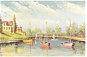 Morris Katz Artwork Fisherman S Retreat Postcard P8551