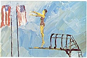 Morris Katz Artwork Pan Am Olympics Postcard p8554 (Image1)
