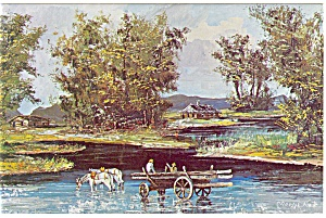 Morris Katz Artwork The Log Cabin Postcard p8581 (Image1)