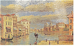 Morris Katz Artwork Moving Gondolas Postcard p8589 (Image1)