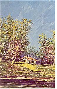 Morris Katz Artwork Cherry Trees Postcard p8592 (Image1)