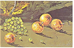 Morris Katz Artwork Four Apples Postcard p8595 (Image1)