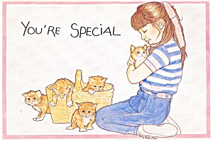 Girl with Five Kittens Postcards (Image1)