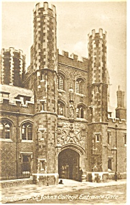 Cambridge St John's College Entrance Gate, UK Postcard (Image1)