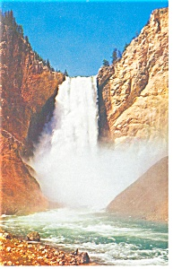 Lower Falls Yellowstone River WY Postcard p8774 (Image1)