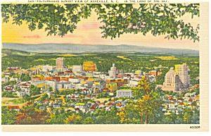 Asheville NC Sunset View Linen Postcard p8779 (Image1)