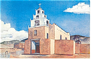 Painting of San Miguel Church Santa Fe NM Postcard p8829 (Image1)