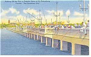 St Petersburg, Fl, Pier Fishing Linen Postcard