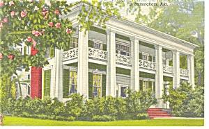 Birmingham  AL Antebellum Mansion Linen Postcard p9024 (Image1)