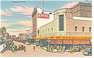 Tampa FL Franklin Street Vintage Cars Linen Postcard p9031 (Image1)