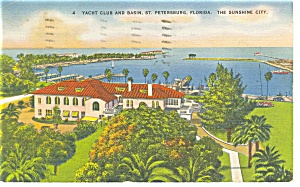 St Petersburg FL Yacht Club and Basin Linen Postcard p9042 (Image1)