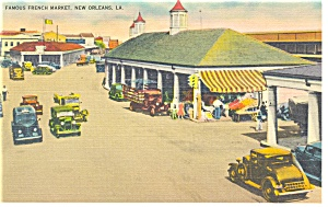 New Orleans,LA, French Market Old Cars Linen Postcard (Image1)