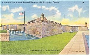 St Augustine, FL, Castillo de San Marcos Linen Postcard (Image1)