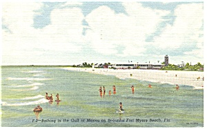 Fort Myers Beach FL Beach Scene Linen Postcard p9078 (Image1)
