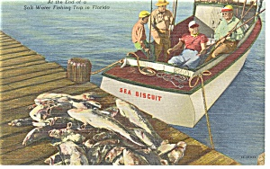 End Of A Salt Water Fishing Trip Linen Postcard