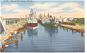 View of Port Tampa FL Linen Postcard p9108 (Image1)