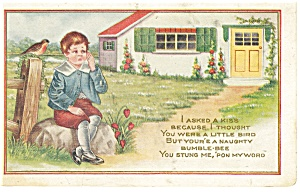 Little Boy With A Bee Sting Postcard 1918