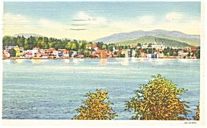 Lake Placid  NY Mirror Lake  Linen Postcard p9267 (Image1)