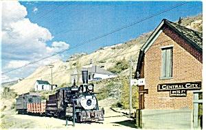 Central City CO Narrow Gauge Steam Train Postcard p9398 (Image1)