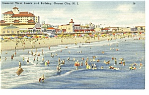 General View of Beach, Ocean City, NJ  Postcard (Image1)