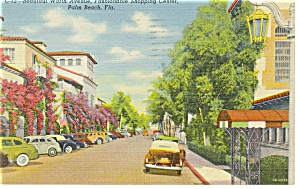 Worth Ave,palm Beach Fl Streetscape Postcard P9567 Old Cars