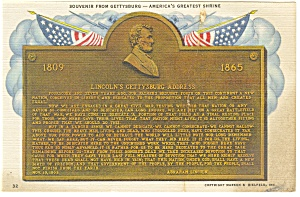 Gettysburg,PA, Wills Building Bronze Tablet Postcard (Image1)