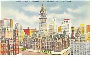 Philadelphia PA City Hall and Skyscrapers Postcard p9623 (Image1)