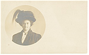 Photo Of A Lady With Large Feathered Hat Postcard