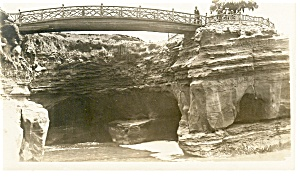 Bridge And Towering Rocks Real Photo Postcard